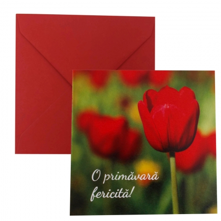 Felicitare martie lalea rosie