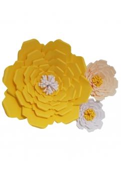 Flori deco hartie galben crem alb