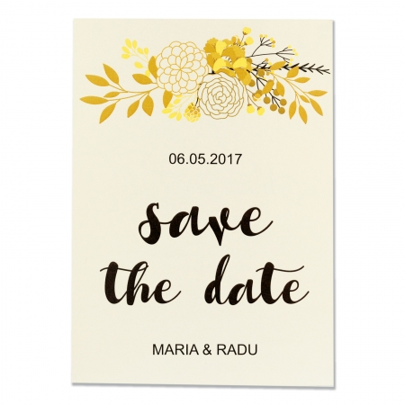 INVITATIE DE NUNTA FLORI GOLD & BLACK