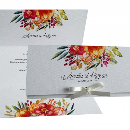Invitatie nunta flori colorate