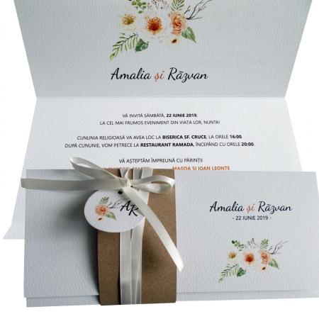 Invitatie nunta flori crem