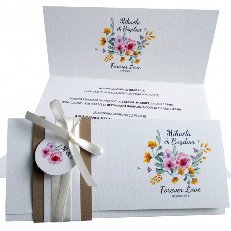 Invitatie nunta flori roz si galbene