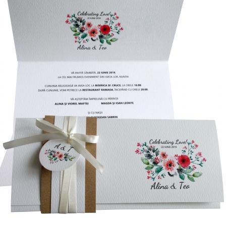 Invitatie nunta flori roz si rosii