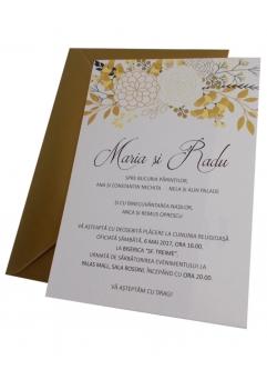 INVITATIE DE NUNTA FLORI GOLD