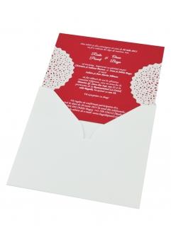 INVITATIE NUNTA ROSIE GRENA CU DANTELA ALBA