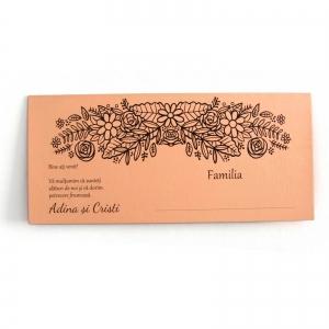 PLACE CARD NUNTA PE CARTON SOMON, CU MOTIVE FLORALE