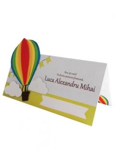 Place card botez Micul explorator multicolor