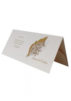 PLACE CARD NUNTA CU FRUNZULITE AURII