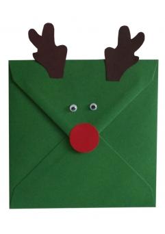 Plic verde Christmas decorat cu ren
