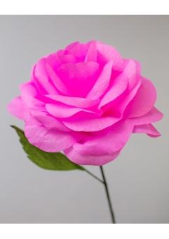Trandafir roz aprins 40 cm hartie creponata