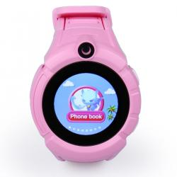 Ceas inteligent pentru copii GW600 Roz cu telefon, localizare GPS, WiFi, ecran touchscreen color, monitorizare spion