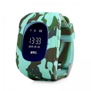 Ceas inteligent pentru copii Q50 Blue Camo cu telefon, localizare GPS si monitorizare spion