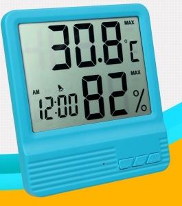 Termometru camera copii  cu ceas, alarma, si higrometru BLEU