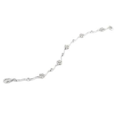Bratara argint eleganta cu floricele si zirconii0