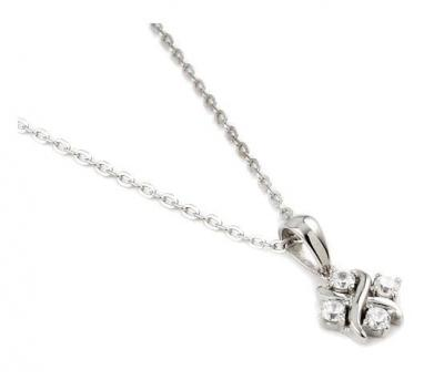 Colier argint rodiat cu zirconii albe