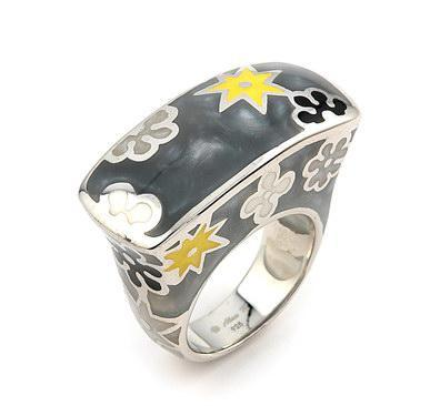 Inel argint cu stelute si floricele colorate0