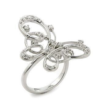 Inel argint elegant forma fluturas cu zirconii0