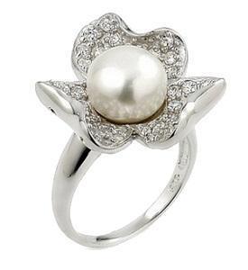 Inel argint in forma de floare cu perla si zirconii0