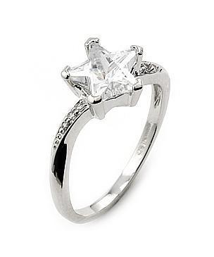 Inel argint rodiat cu piatra in forma de stea0