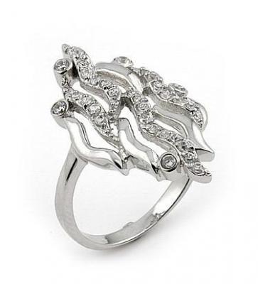 Inel lat din argint rodiat cu zirconii albe0