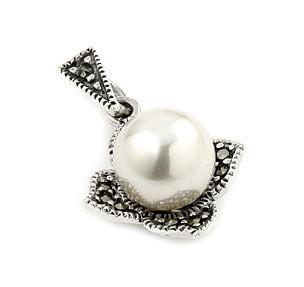 Pandant argint in forma de floare cu marcasite si perle0