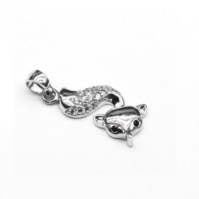 Pandantiv argint rodiat vulpita cu zirconii