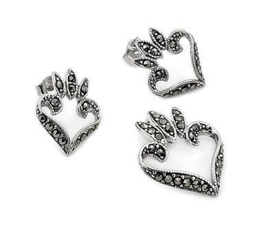 Set argint inimioare cercei si pandant cu marcasite0