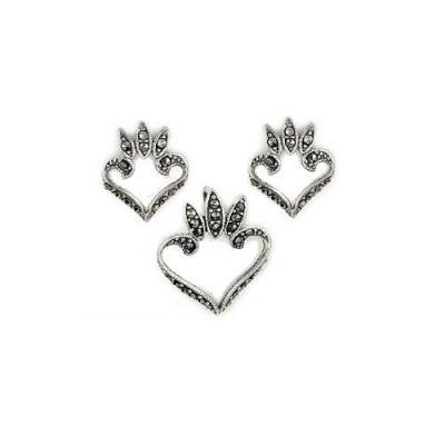 Set argint inimioare cercei si pandant cu marcasite1