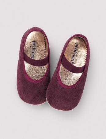 Ballerina Shoe w Elastic Wine Suede