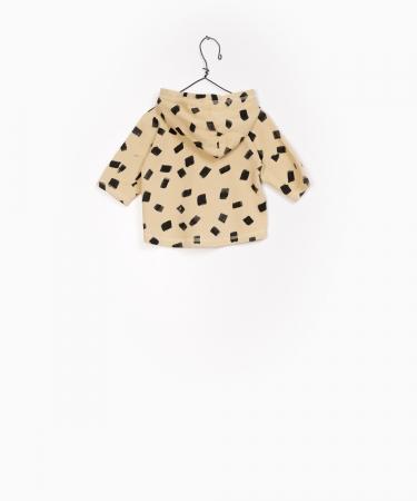 Jacheta fleece cu gluga print galben cu negru1