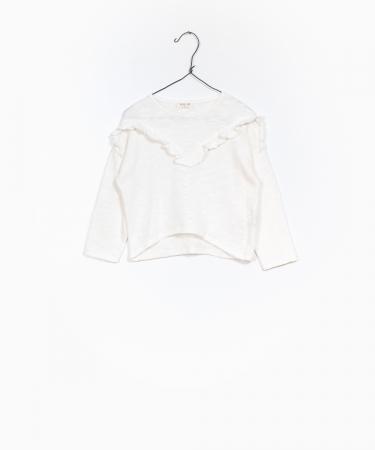 Pulover jerseu bumbac organic alb0