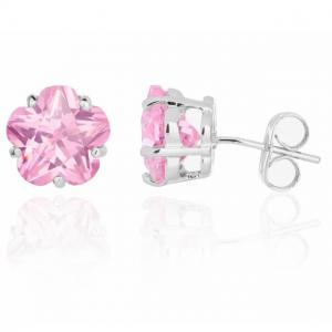 Cercei Borealy Sapphire Studs Flower Cut Pink1