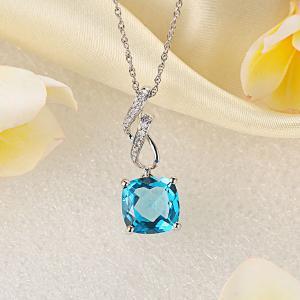 Pandantiv Borealy Aur Alb 14 K 4.6 Ct Swiss Blue Topaz6