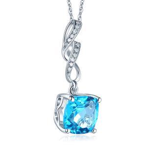 Pandantiv Borealy Aur Alb 14 K 4.6 Ct Swiss Blue Topaz4