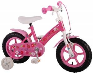 Bicicleta copii fete 12 inch Volare Flowerie cu roti ajutatoare si cosulet roz