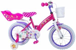 Bicicleta pentru fete 14 inch cu scaun pentru papusi roti ajutatoare si cosulet Minnie Mouse