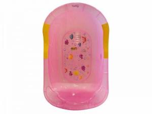 Cadita de baie Bagno pentru bebelusi roz transparent Just Baby