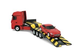 Camion Mercedes Actros 1:26 si Mercedes AMG GT 1:24 cu radiocomanda MONDO cu baterii reincarcabile incluse 63456