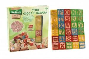 Cuburi din lemn cu litere si cifre 30 bucati