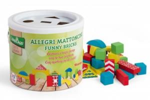 Galetusa cu cuburi colorate din lemn 50 piese