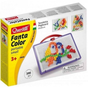 Joc mozaic pentru copii Quercetti Portabil 100 piese patrate cu trusa transport