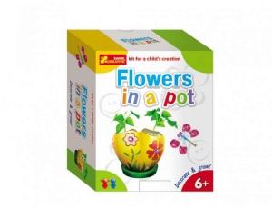 Joc pentru copii Vopseste si decoreaza Flori in oala RANOK