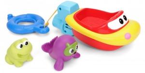 Jucarie de baie pentru copii Winfun Barcuta cu 2 animale cauciuc