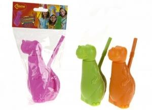 Pahar de plastic in forma de dinozaur cu pai