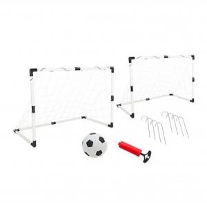 Set 2 porti de fotbal din plastic pentru copii Globo WToy cu minge si pompa inclusa
