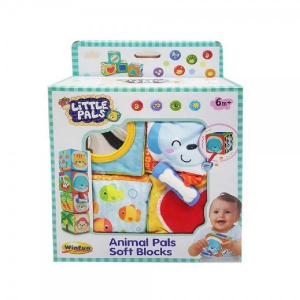 Set 4 cuburi stivuibile Winfun din material textil multicolore pentru bebelusi