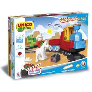 Set constructie Unico Plus Trenulet Vestul salbatic cu baterii sunete 46 piese