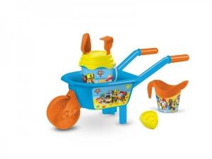 Set plaja Paw Patrol Mondo pentru copii cu roaba, jucarii plaja si galetusa