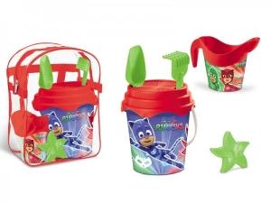 Set plaja Pj Masks Mondo pentru copii cu ghiozdanel, jucarii plaja si galetusa