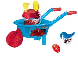 Set plaja Spiderman Mondo pentru copii cu roaba jucarii plaja si galetusa